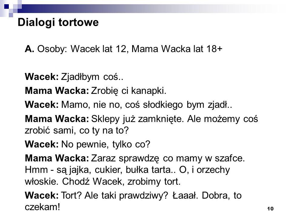 Dialogi tortowe A. Osoby: Wacek lat 12, Mama Wacka lat 18+