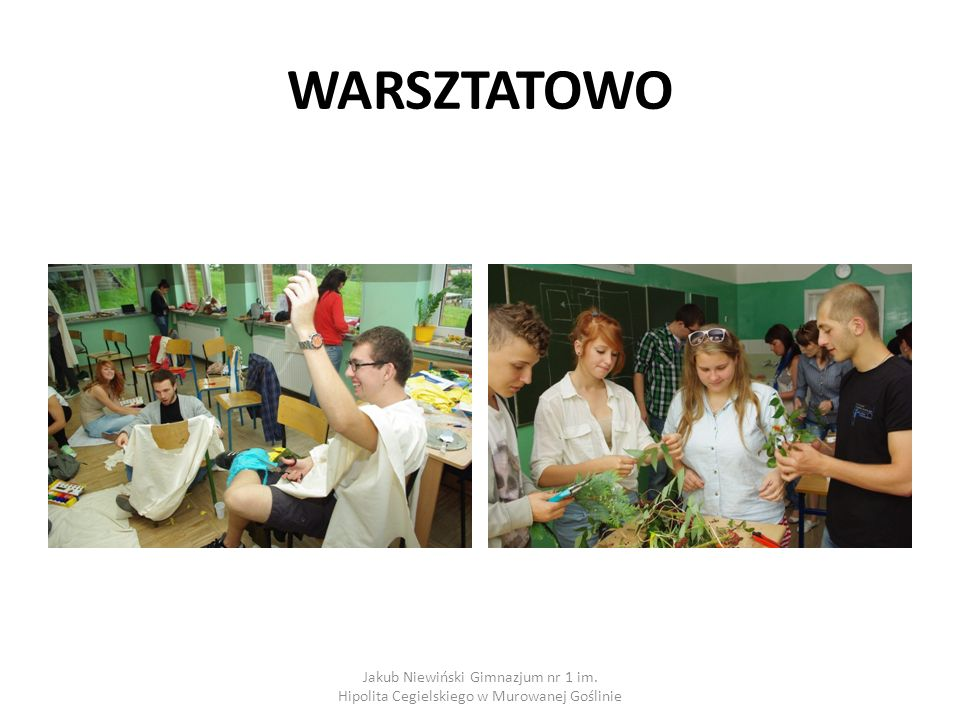 WARSZTATOWO Jakub Niewiński Gimnazjum nr 1 im. Hipolita Cegielskiego w Murowanej Goślinie