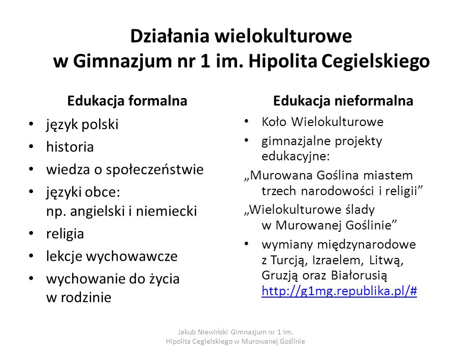 Działania wielokulturowe w Gimnazjum nr 1 im. Hipolita Cegielskiego