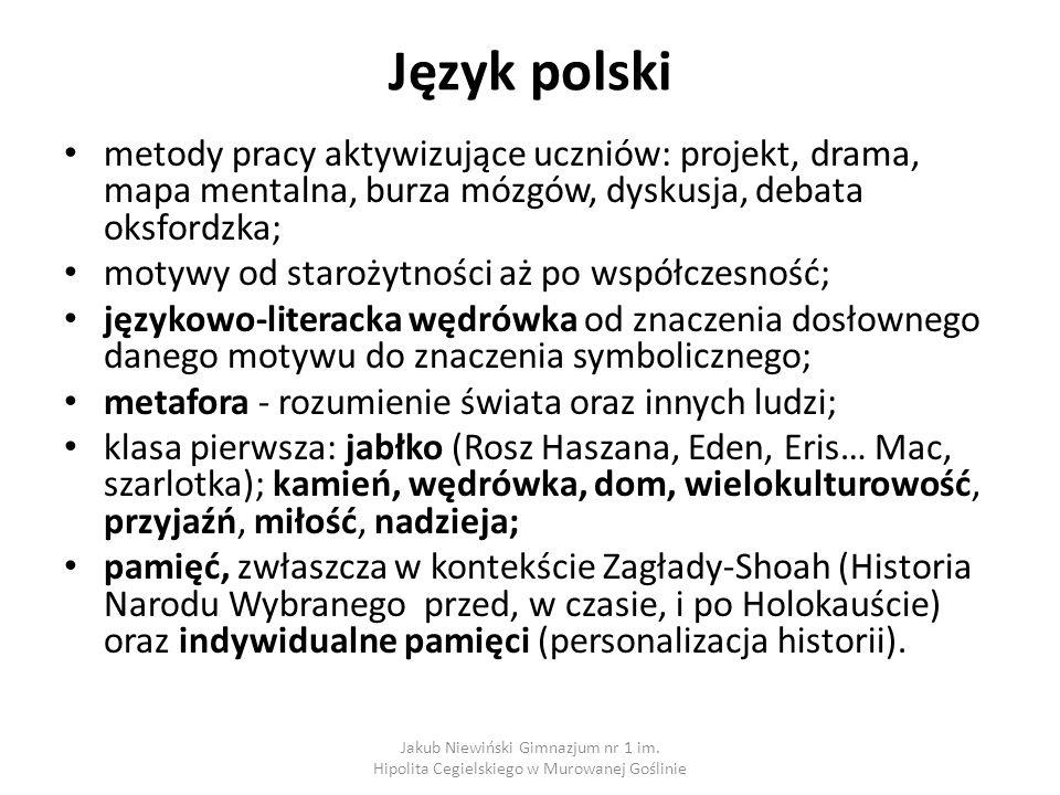 Język polski metody pracy aktywizujące uczniów: projekt, drama, mapa mentalna, burza mózgów, dyskusja, debata oksfordzka;