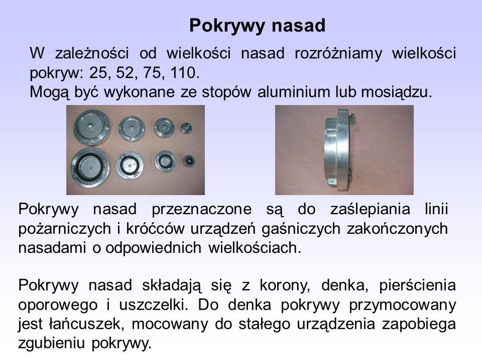 Pokrywy nasad W zależności od wielkości nasad rozróżniamy wielkości pokryw: 25, 52, 75, 110. Mogą być wykonane ze stopów aluminium lub mosiądzu.