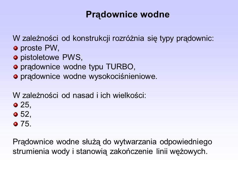 Prądownice wodne W zależności od konstrukcji rozróżnia się typy prądownic: proste PW, pistoletowe PWS,