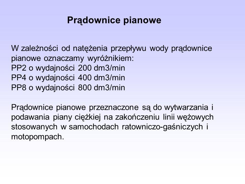 Prądownice pianowe W zależności od natężenia przepływu wody prądownice pianowe oznaczamy wyróżnikiem: