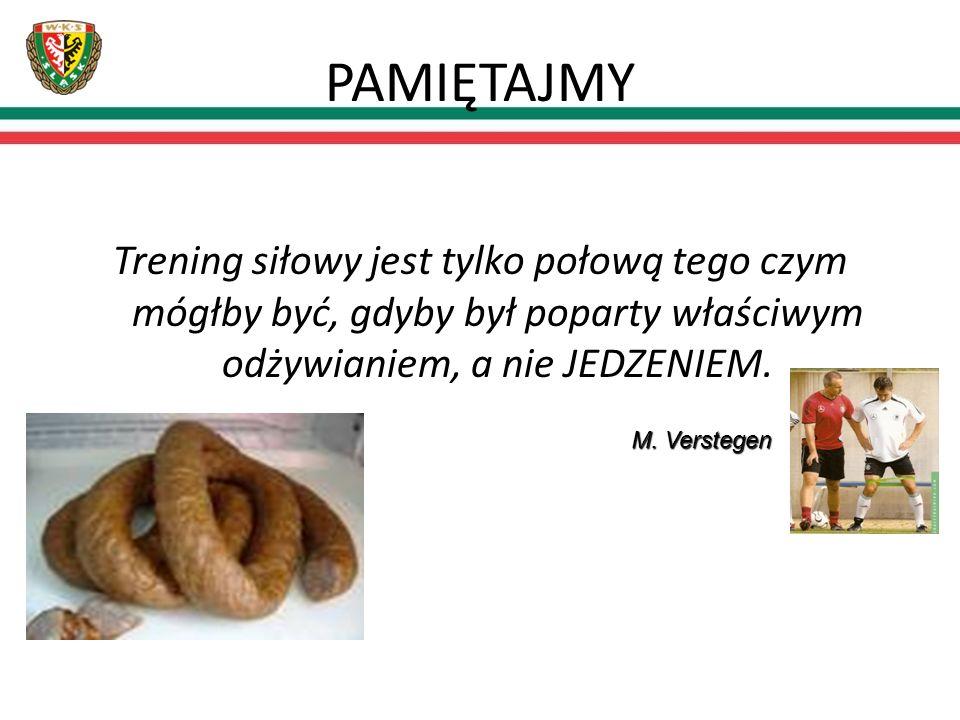 PAMIĘTAJMY Trening siłowy jest tylko połową tego czym mógłby być, gdyby był poparty właściwym odżywianiem, a nie JEDZENIEM.