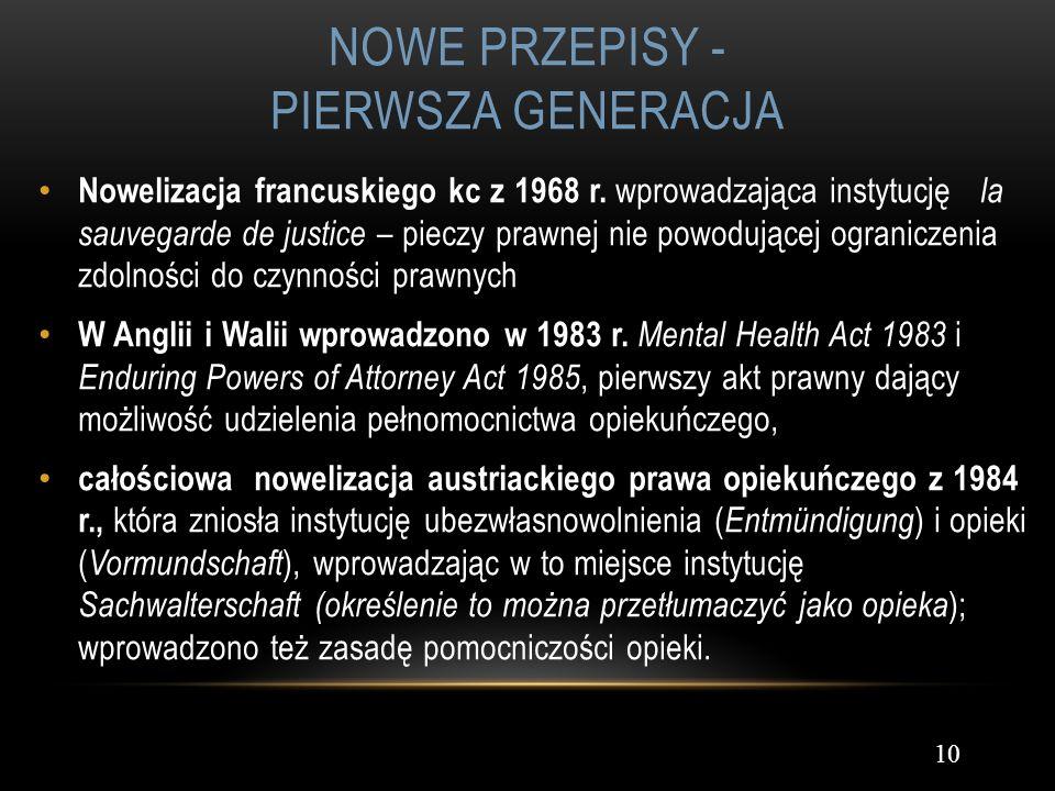 Nowe przepisy - pierwsza generacja