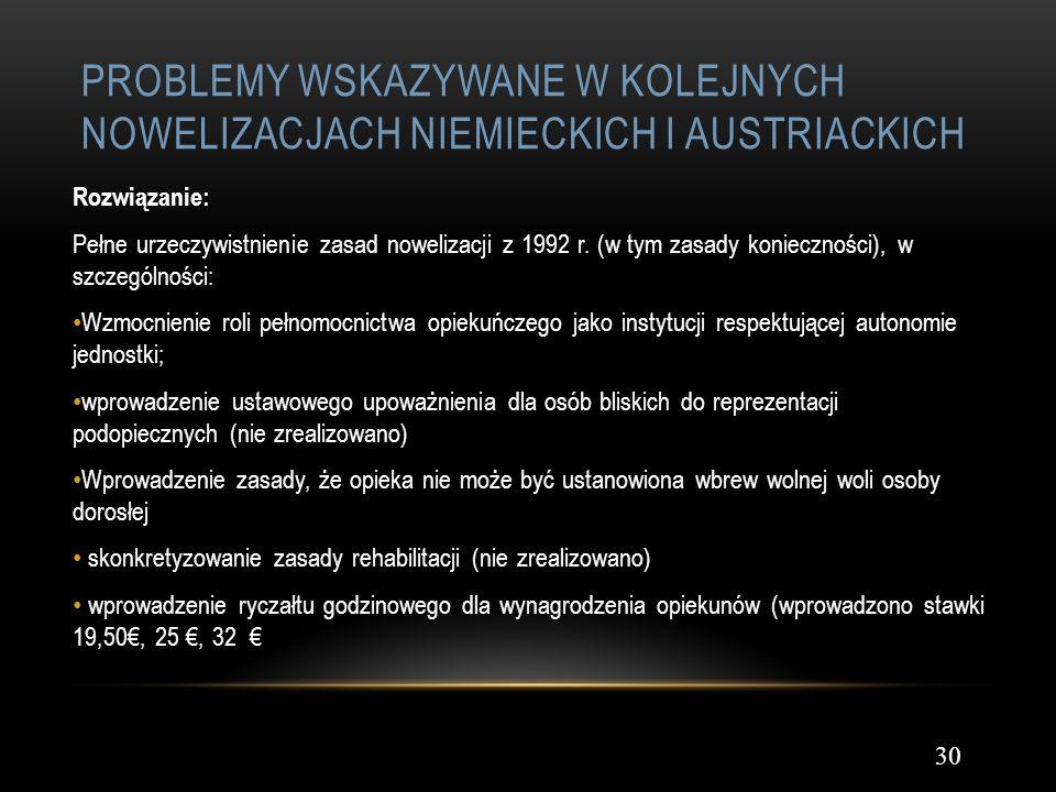 Problemy wskazywane w kolejnych nowelizacjach niemieckich i austriackich