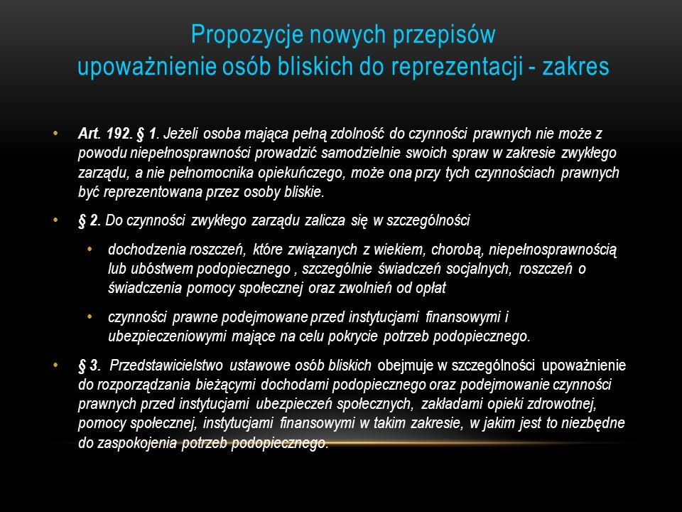Propozycje nowych przepisów upoważnienie osób bliskich do reprezentacji - zakres