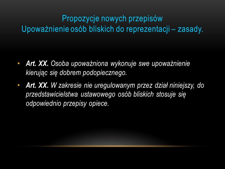 Propozycje nowych przepisów Upoważnienie osób bliskich do reprezentacji – zasady.