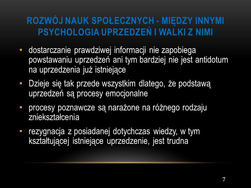 Rozwój nauk społecznych - Między innymi psychologia uprzedzeń i walki z nimi