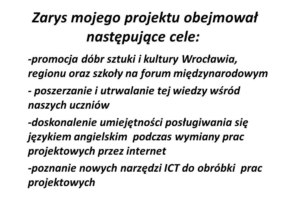 Zarys mojego projektu obejmował następujące cele: