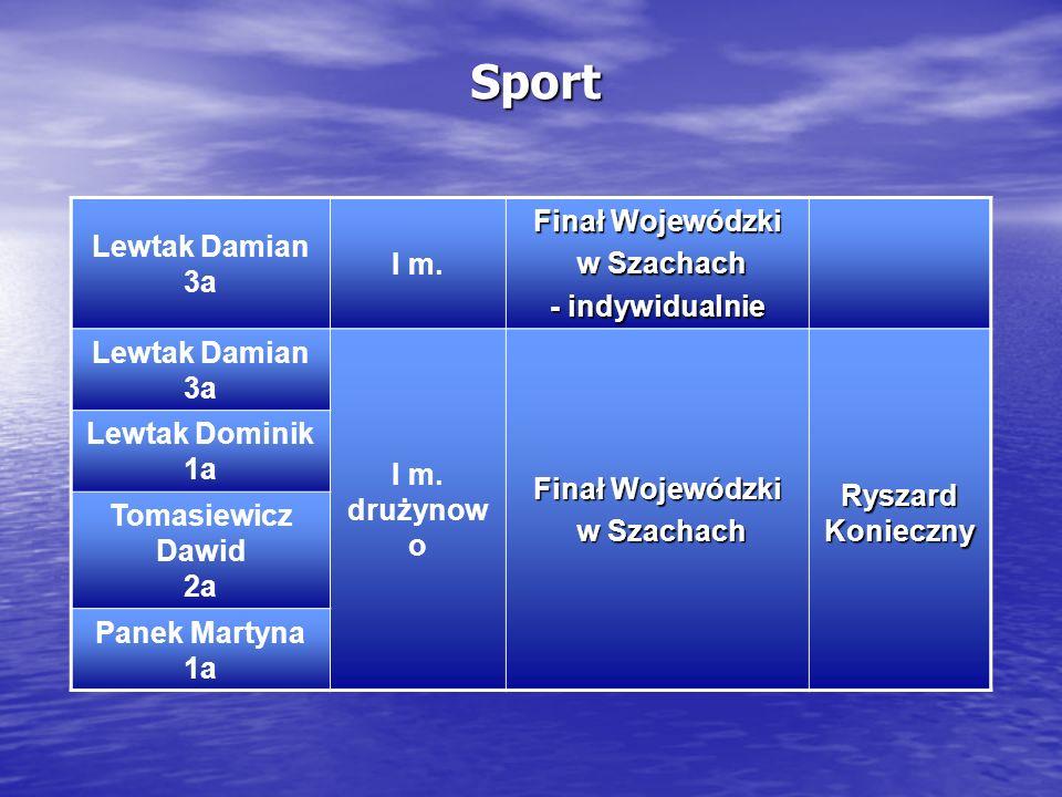 Sport Finał Wojewódzki Lewtak Damian w Szachach I m. 3a