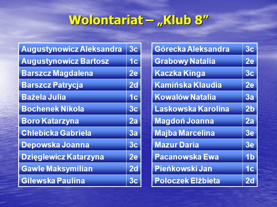 """Wolontariat – """"Klub 8 Augustynowicz Aleksandra 3c"""