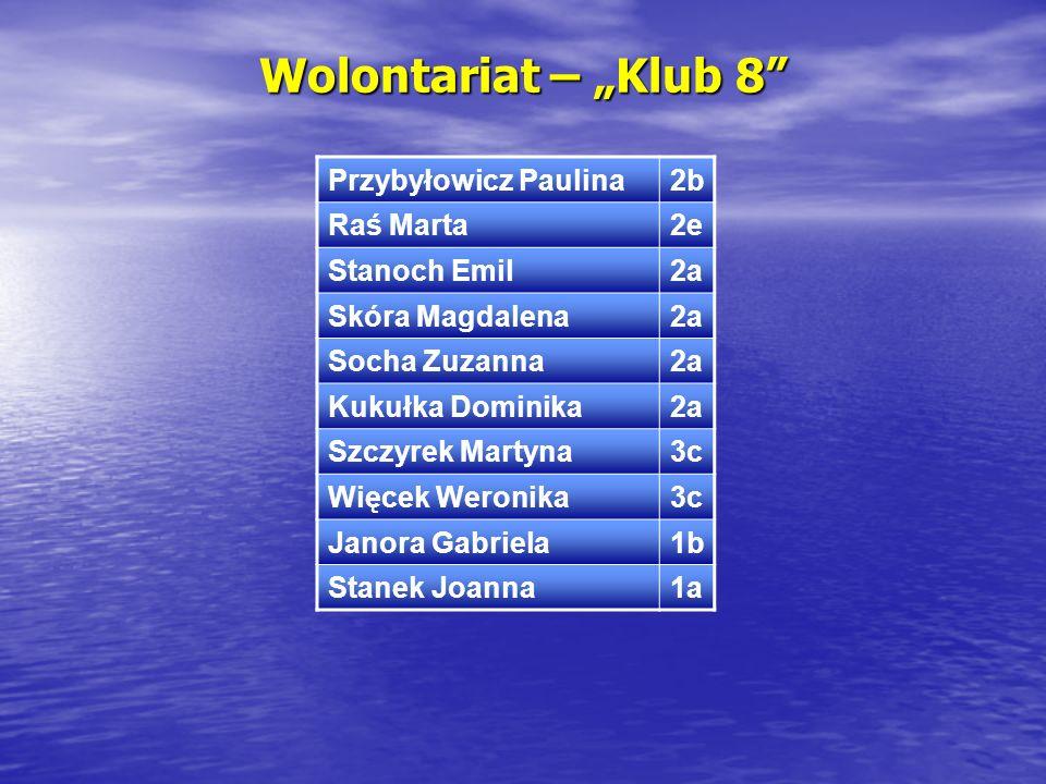 """Wolontariat – """"Klub 8 Przybyłowicz Paulina 2b Raś Marta 2e"""