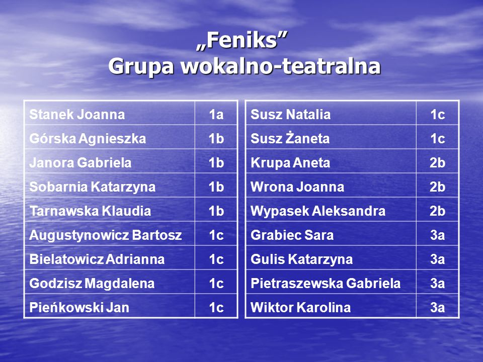 """Feniks Grupa wokalno-teatralna"