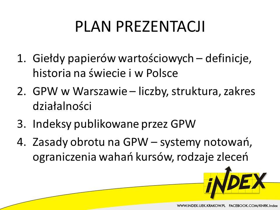 PLAN PREZENTACJI Giełdy papierów wartościowych – definicje, historia na świecie i w Polsce. GPW w Warszawie – liczby, struktura, zakres działalności.