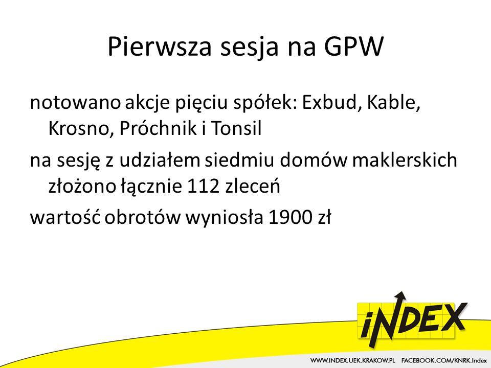 Pierwsza sesja na GPW