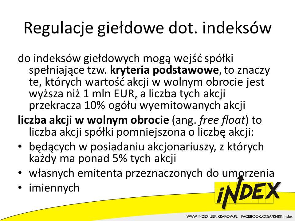 Regulacje giełdowe dot. indeksów