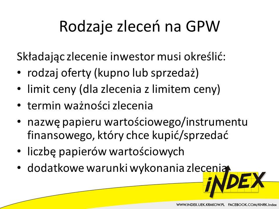 Rodzaje zleceń na GPW Składając zlecenie inwestor musi określić: