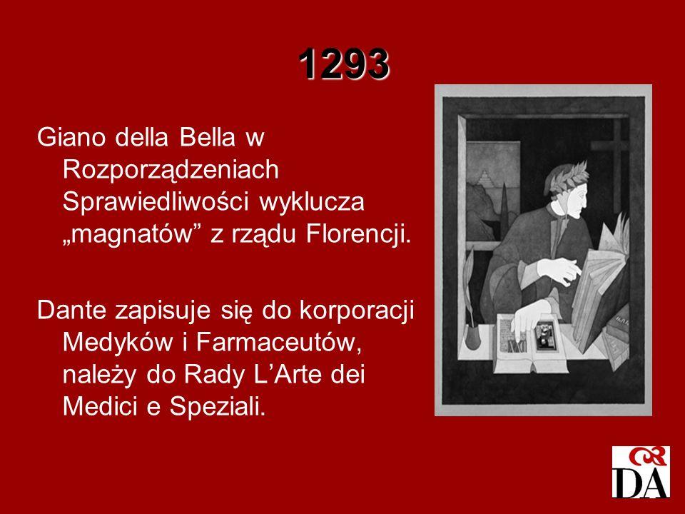 """1293 Giano della Bella w Rozporządzeniach Sprawiedliwości wyklucza """"magnatów z rządu Florencji."""