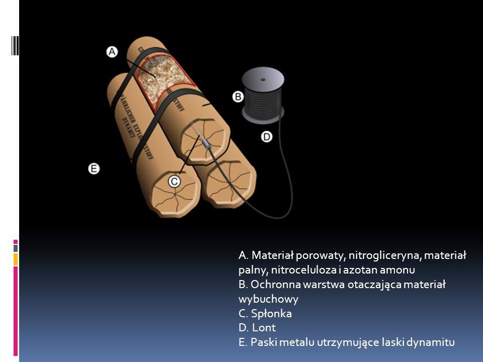A. Materiał porowaty, nitrogliceryna, materiał palny, nitroceluloza i azotan amonu B.