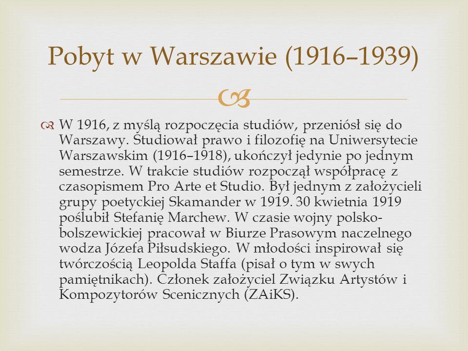 Pobyt w Warszawie (1916–1939)