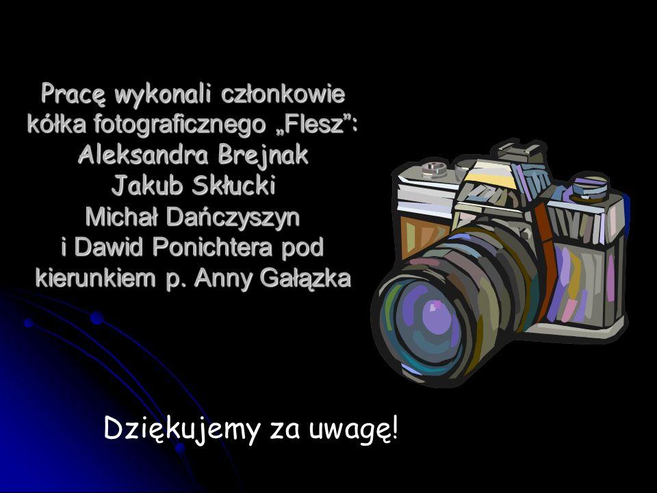 """Pracę wykonali członkowie kółka fotograficznego """"Flesz : Aleksandra Brejnak Jakub Skłucki Michał Dańczyszyn i Dawid Ponichtera pod kierunkiem p. Anny Gałązka"""