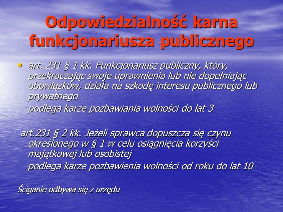 Odpowiedzialność karna funkcjonariusza publicznego