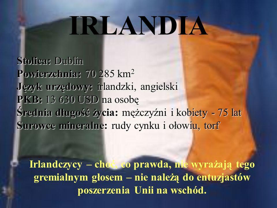 IRLANDIA Stolica: Dublin Powierzchnia: 70 285 km2