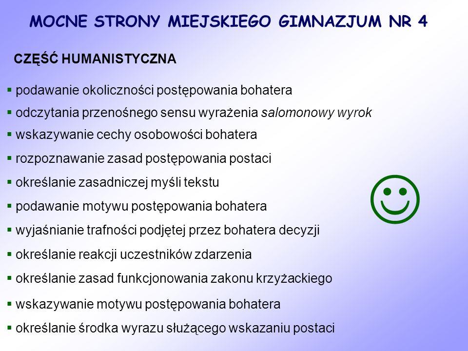  MOCNE STRONY MIEJSKIEGO GIMNAZJUM NR 4 CZĘŚĆ HUMANISTYCZNA