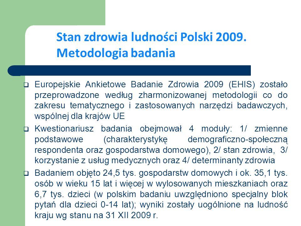 Stan zdrowia ludności Polski 2009. Metodologia badania