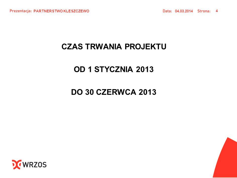 CZAS TRWANIA PROJEKTU OD 1 STYCZNIA 2013 DO 30 CZERWCA 2013