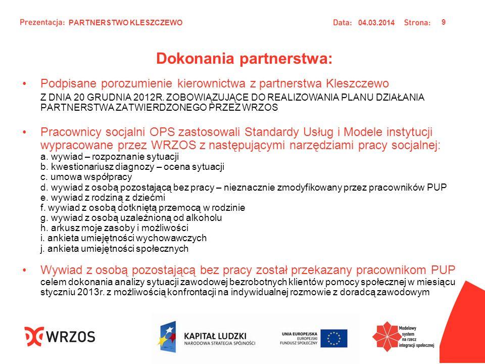 Dokonania partnerstwa: