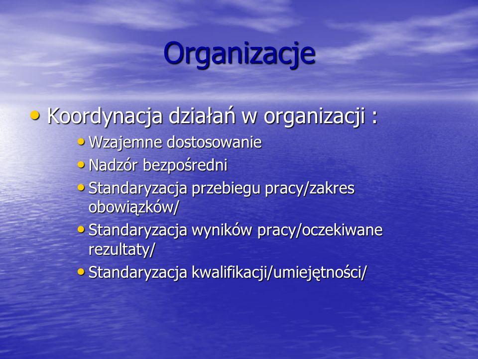 Organizacje Koordynacja działań w organizacji : Wzajemne dostosowanie