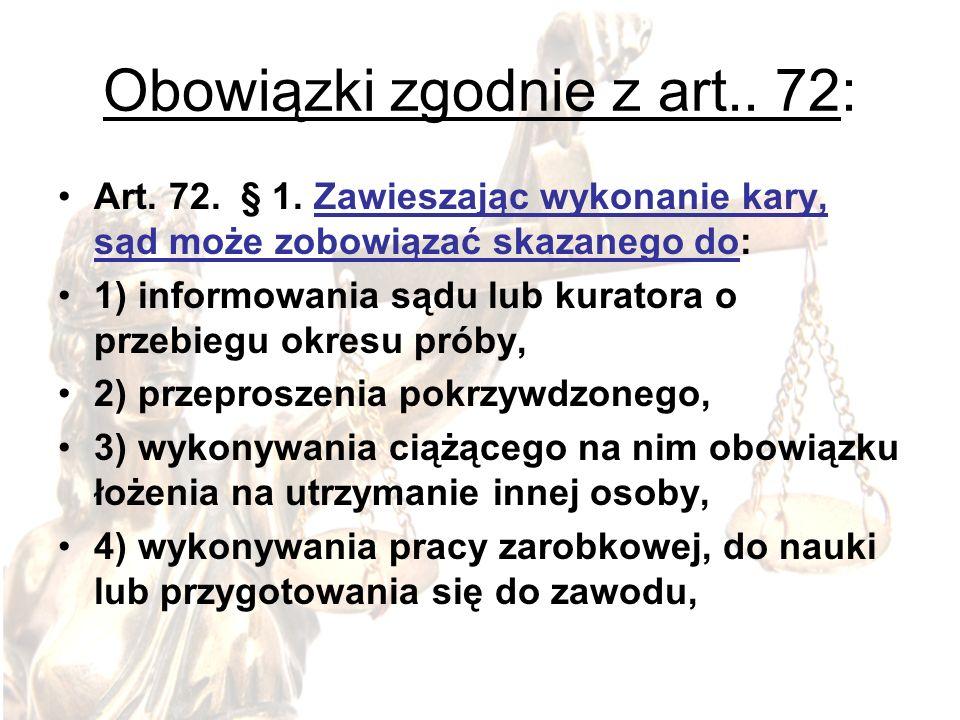 Obowiązki zgodnie z art.. 72: