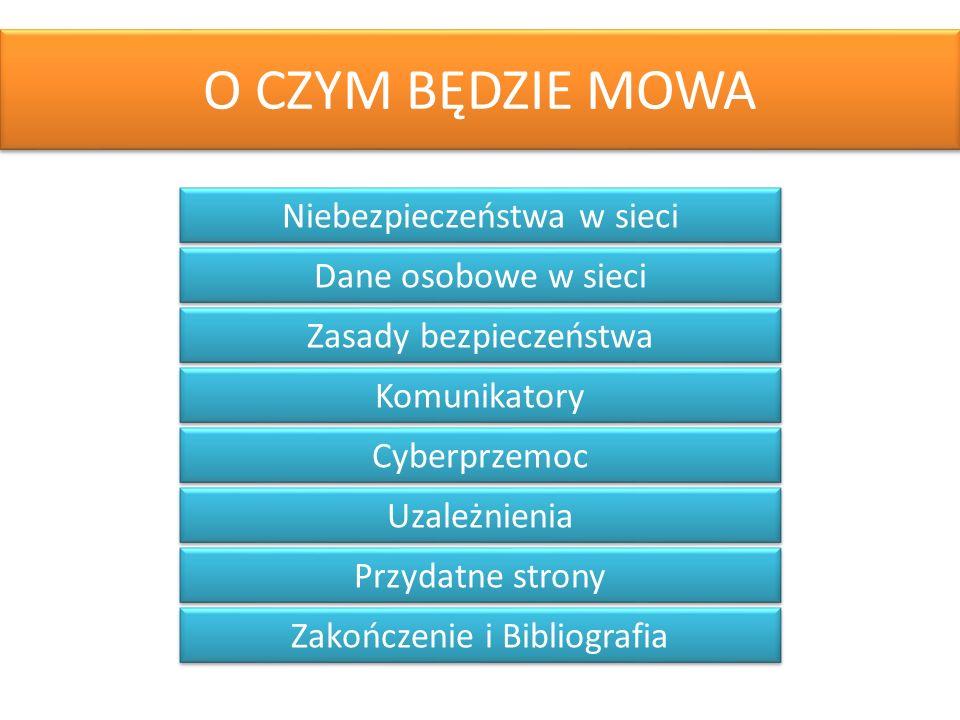 O CZYM BĘDZIE MOWA Niebezpieczeństwa w sieci Dane osobowe w sieci