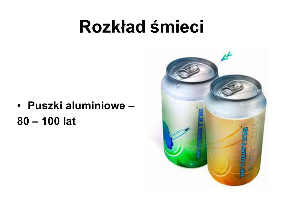 Rozkład śmieci Puszki aluminiowe – 80 – 100 lat
