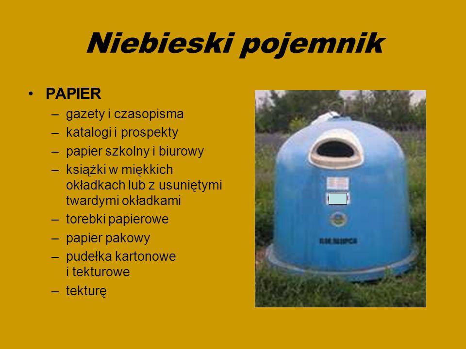 Niebieski pojemnik PAPIER gazety i czasopisma katalogi i prospekty
