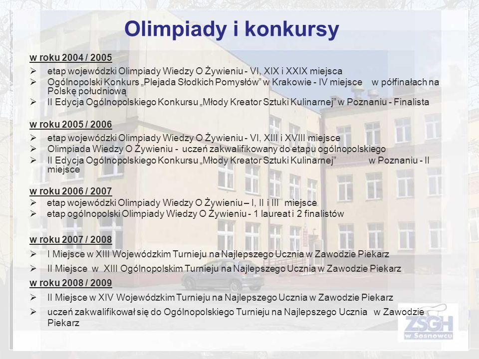 Olimpiady i konkursy w roku 2004 / 2005