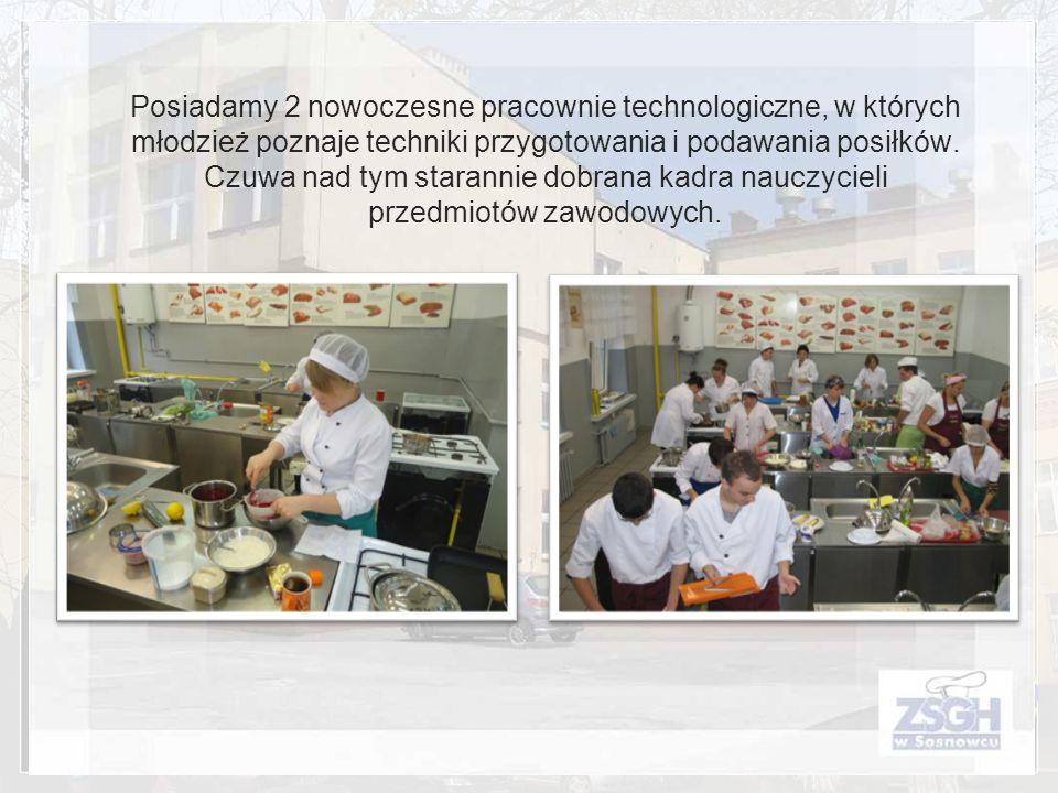 Posiadamy 2 nowoczesne pracownie technologiczne, w których młodzież poznaje techniki przygotowania i podawania posiłków.