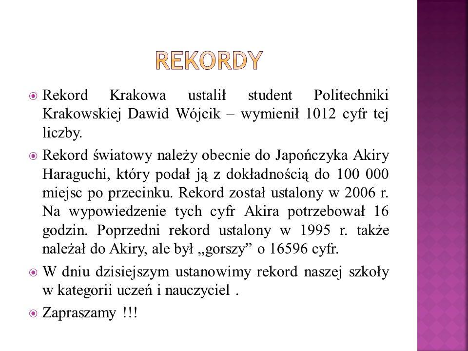 Rekordy Rekord Krakowa ustalił student Politechniki Krakowskiej Dawid Wójcik – wymienił 1012 cyfr tej liczby.
