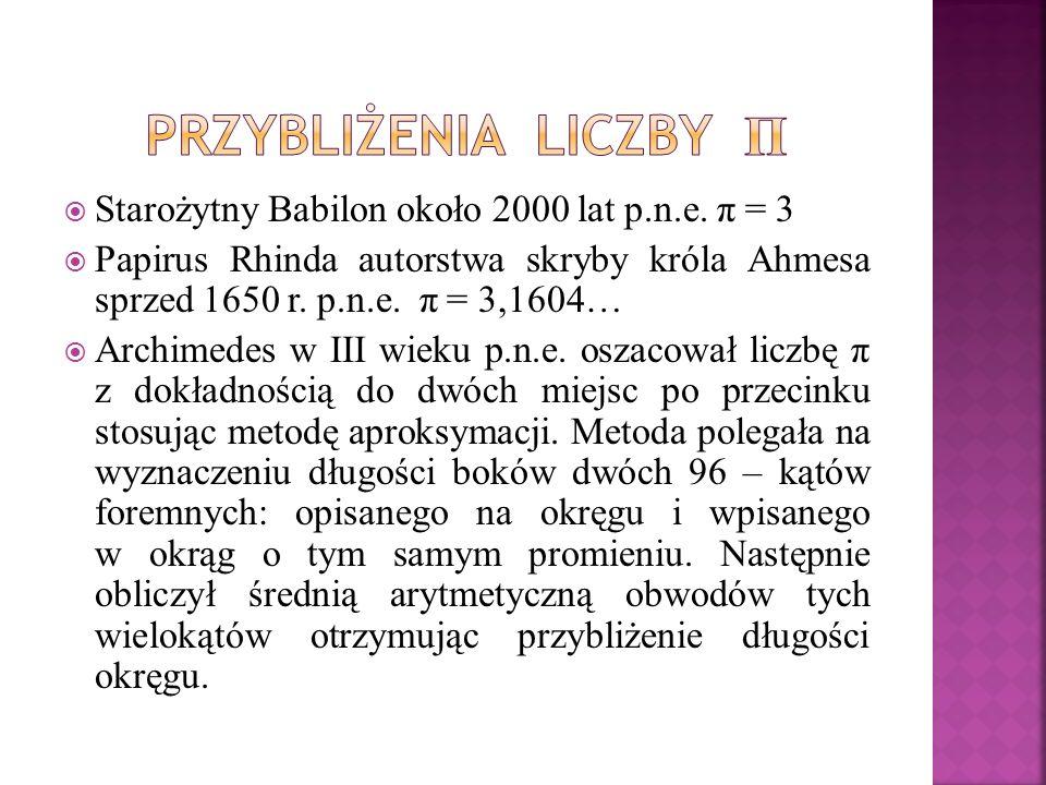Przybliżenia liczby π Starożytny Babilon około 2000 lat p.n.e. π = 3