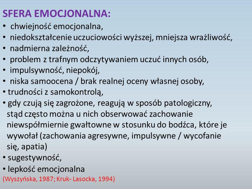 SFERA EMOCJONALNA: chwiejność emocjonalna,