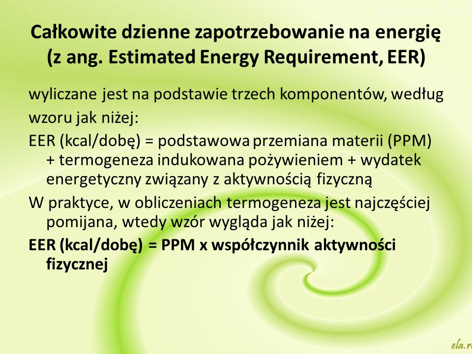 Całkowite dzienne zapotrzebowanie na energię (z ang