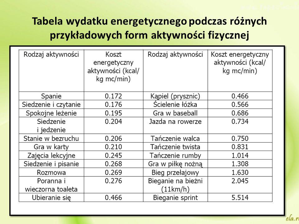 Tabela wydatku energetycznego podczas różnych przykładowych form aktywności fizycznej