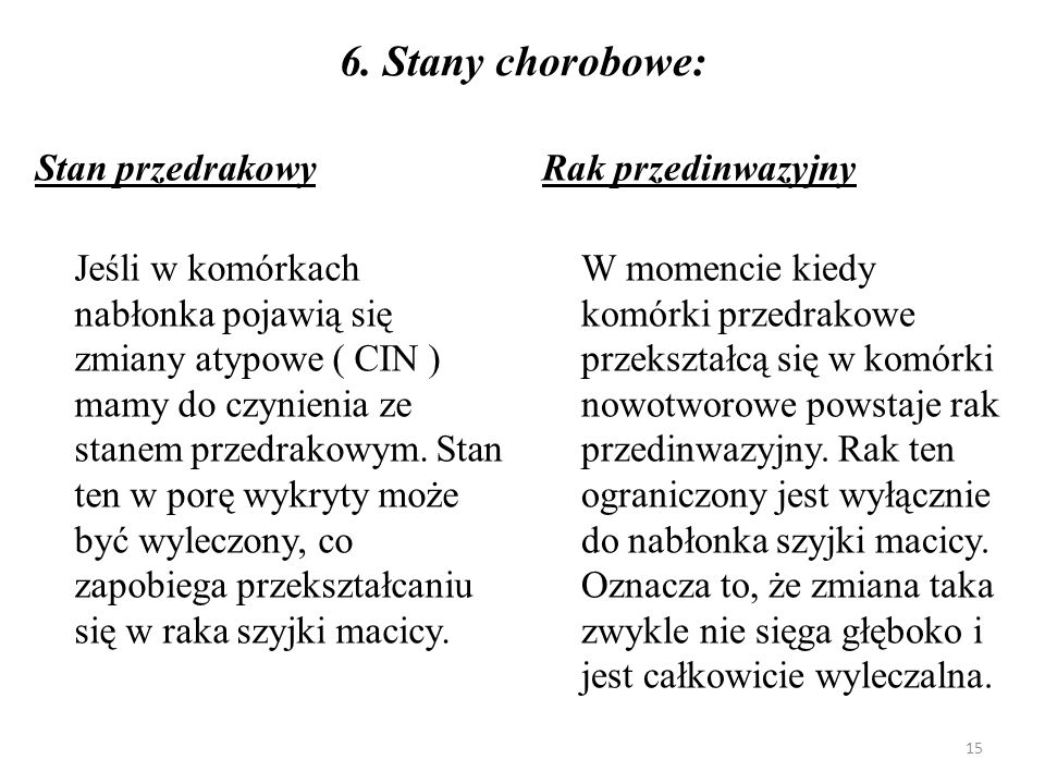 6. Stany chorobowe: