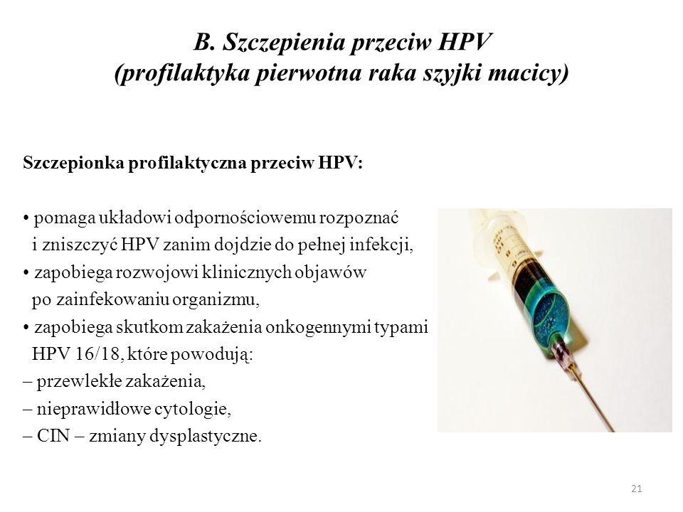 B. Szczepienia przeciw HPV (profilaktyka pierwotna raka szyjki macicy)