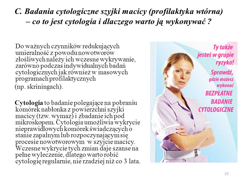 C. Badania cytologiczne szyjki macicy (profilaktyka wtórna) – co to jest cytologia i dlaczego warto ją wykonywać