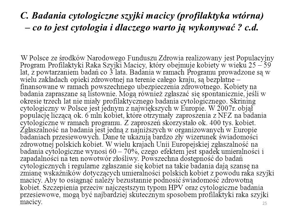 C. Badania cytologiczne szyjki macicy (profilaktyka wtórna) – co to jest cytologia i dlaczego warto ją wykonywać c.d.