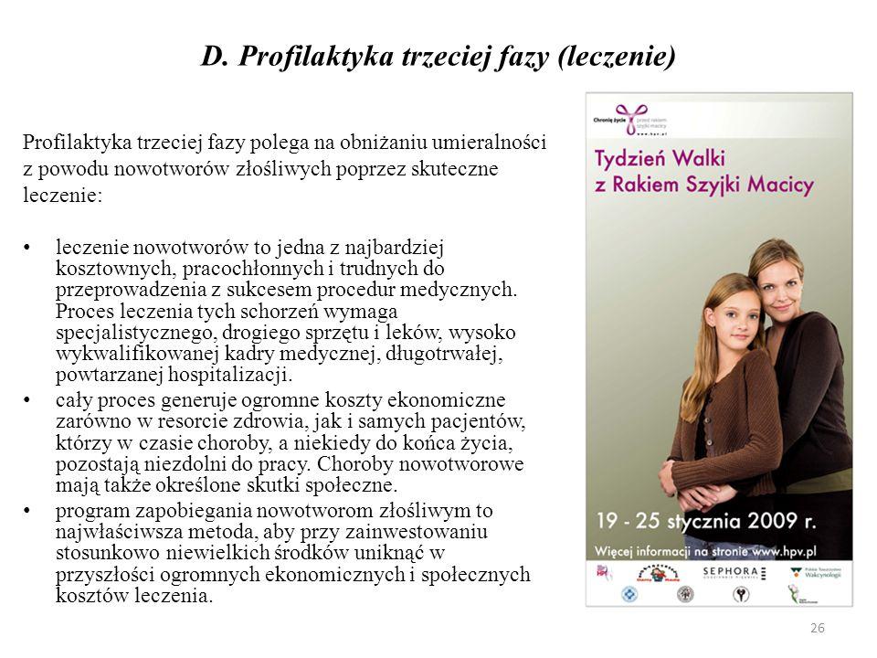 D. Profilaktyka trzeciej fazy (leczenie)