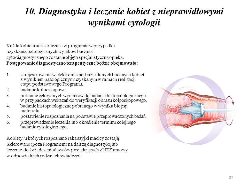 10. Diagnostyka i leczenie kobiet z nieprawidłowymi wynikami cytologii